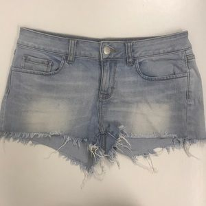 "VS ""pink"" denim fringe shorts size 4"